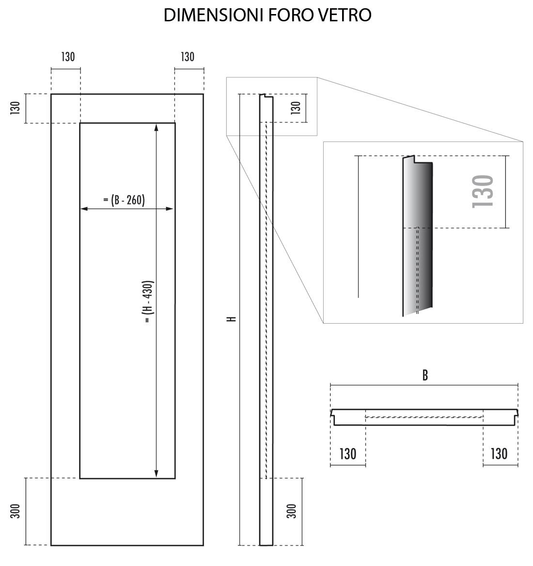 Noce tanganica porta liscia 1 foro vetro ferplac - Altezza parapetto finestra ...
