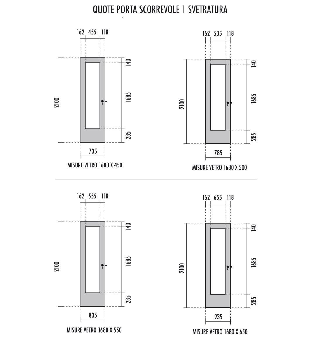 Laminatino bianco porta liscia 1 foro vetro scorrevole - Porta finestra misure ...